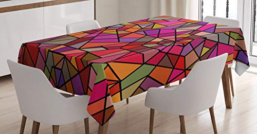 (Ambesonne Abstract Tablecloth, Mosaic Style Stained Glass Fractal Colorful Geometric Triangle Forms Artful Image, Dining Room Kitchen Rectangular Table Cover, 60 W X 84 L Inches, Multicolor)