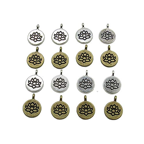 30 Pcs Lotus Flower Charms Yoga Charms Pendant for Jewelry Making Bracelet (Silver & Brone)
