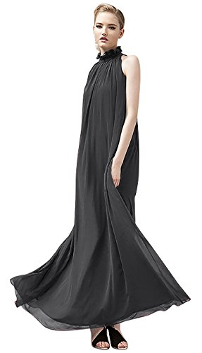 VSVO Women Halter Neck Sleeveless Chiffon Maxi Dresses (One Size, Black)