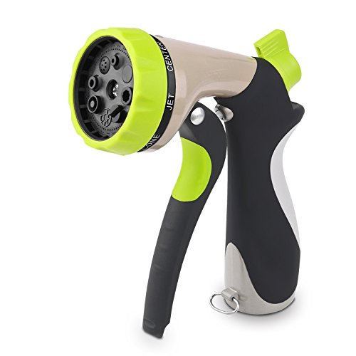 Dial Type Enamel (Garden Hose Nozzle,Powstro Metal Water Nozzle Hand Sprayer High Pressure Water Spray Nozzle 8 Adjustable Watering Patterns - Slip Resistant - for Watering Plants,Cleaning,Car Wash and Showering Pets)
