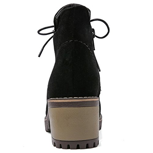 COOLCEPT Women Fashion Square Mid Heel Lace Up Ankle Martin Boots Black SlhYVb