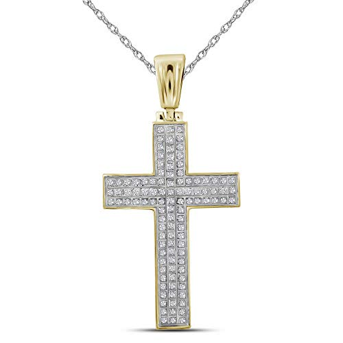 - FB Jewels 10kt Yellow Gold Mens Round Diamond Christian Cross Raised Charm Pendant 1/3 Cttw (I2-I3 clarity; J-K color)