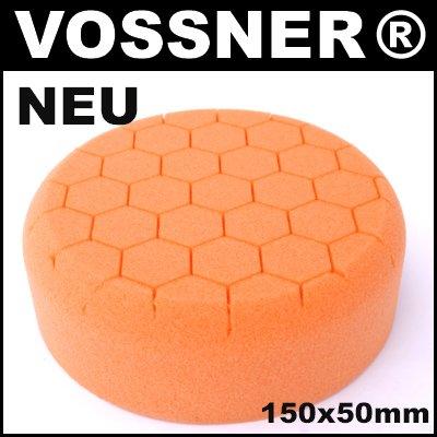 Profi Polierschwamm Hexagon 150mm orange mittel fü r Poliermaschine Vossner
