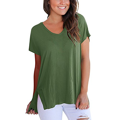 Manche Top Mode Sweat Uni V Confort Vert Court Loisir Blouse Shirt Et Shirt Casual Shirt Loose T Basique semen Sport Arme Col Femme fvY6qp