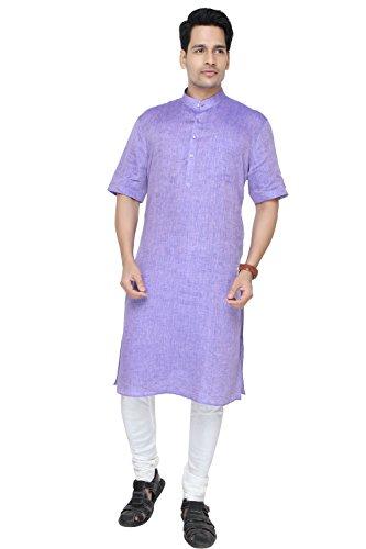 Purple Self Textured Modi Kurta Indian Kurta For Men - MK79RH -42 by JadeBlue