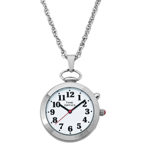Ladies' Silver Tone Talking Pendant Pocket Watch with Choice of Voice (Male & Female)