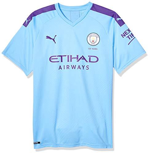 promo code 2297d 563c7 PUMA Men's Standard Manchester City MCFC Shirt Replica with Sponsor Logo,  Hombre Team Light Blue-Tillandsia Purple, L