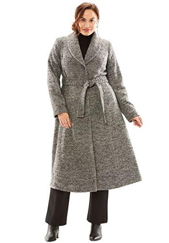 Tweed Coat Black (Jessica London Women's Plus Size Long Swing Coat Black Tweed,18)