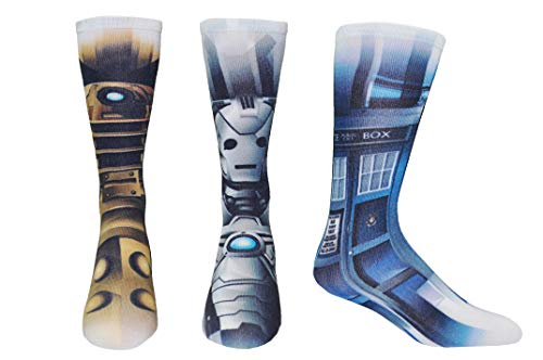 Doctor Who Socks Merchandise (3 Pair) - (1 Size) Dr Who BBC Gifts Dalek, Cyberman, Tardis Crew Socks Women & Men's -