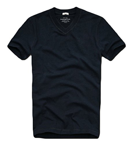 T&Mates Summer Men's Short Sleeve Tee Solid Color Blank Cotton T-shirt (XX-Large, 6892V-Darkblue) - How To Make A Pol