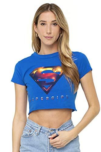 Supergirl TV Series 3D Logo Juniors Teen Girls Crop Top T Shirt & Stickers (Medium) Royal Blue - Crop Logo