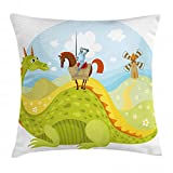 Ambesonne Fantasy Throw Pillow Cushion Cover, Knight Don Quixote with Horse on Dragon Valley Medieval Fairytale Image, Decorative Square Accent Pillow Case, 16' X 16', Apple Green Sky Blue