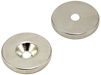 Im/án de neodimio 2 unidades, 20 x 3 mm, N42 avellanado, 4,5 kg de fuerza de sujeci/ón first3magnets F406N-2 20
