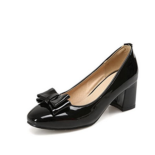 AmoonyFashion Womens Kitten Heels Solid Pull On Square Closed Toe Pumps-Shoes Black iUSCMBpyaV