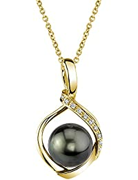 14k Gold Round Black Tahitian South Sea Cultured Pearl & Diamond Alexis Pendant Necklace for Women