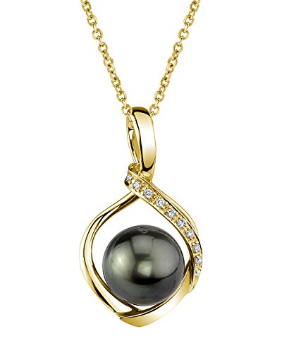 Diamonds 12mm Tahitian Pearl Pendant - 12mm Tahitian South Sea Cultured Pearl & Diamond Alexis Pendant Necklace in 14K Gold