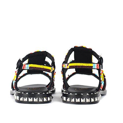 Studs Polynesia Skinn Semsket I Og Sandaler Beaded Aske Svart 8wTBZTq