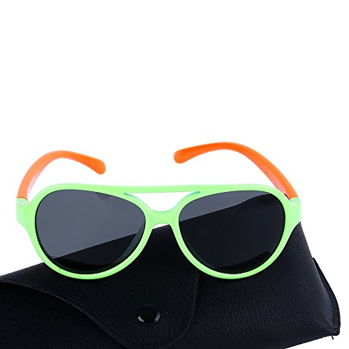 Care Proof Sun Age (Toddler Boys and Girls Rubber Flexible Polarized Wayfarer Sunglasses for Children Age 3-8,UV Protection (Green/Orange))