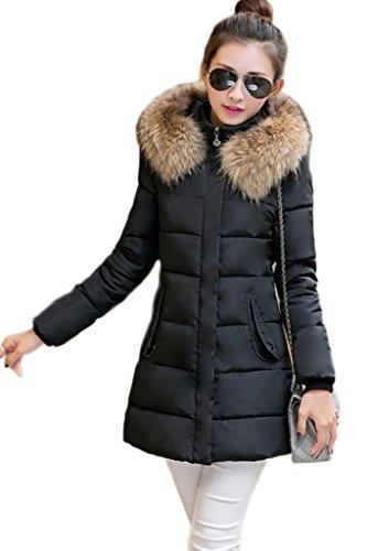 Capot Chaud Bigood Femme Doudoune Avec Manteau Longue Parka Jacket Hiver Manches Blouson Slim Noir Veste ArvrqdXw