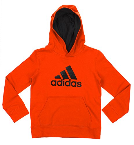 [Adidas Big Boys Youth Game Ready Pullover Fleece Hoodie, BD Orange Black] (Adidas Pullover Hooded Sweatshirt)