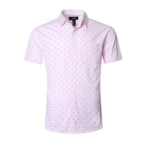 - NUTEXROL Men's Regular-Fit Short-Sleeve Oxford Shirt Button Down Collar Dress Shirts Pink XL