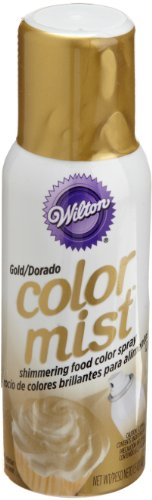 Wilton Color Mist, Shimmering Food Color Spray, for Decorating Cakes, Cookies, Cupcakes or any Food for a Dazzling Effect, 1.5 Ounces, Gold]()