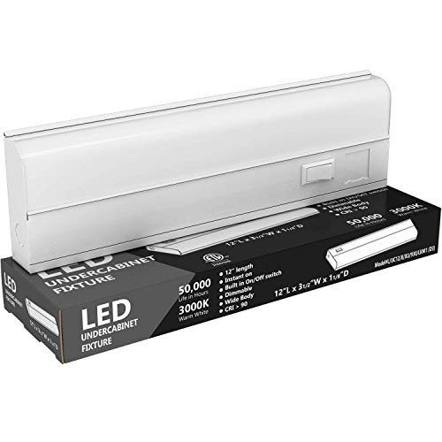 "Hardwired LED Under Cabinet Lighting - 8 Watt, 12"", Dimmable, CRI>90, 3000K (Warm White), Wide Body, Long Lasting Metal Base with Frost Lens'/></a></td><td class="