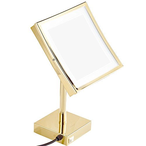 Vanity Light Distance Above Mirror : GURUN 8 inch Square Tabletop Swivel Vanity Mirror with LED Light 3x Magnification, Chrome Finish ...