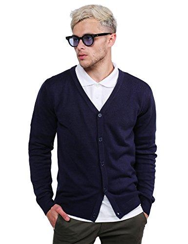 Basic V-Neck Button Down Cardigan Navy Size L