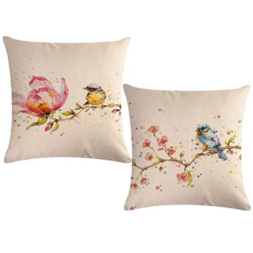 """Throw Pillow Covers Birds On The Tree With Spring Pink Flowers Pillow Covers Home Decorative Square Pillowcase 18""""×18"""",2Pack for Sofa,Couch,Bed(Watercolor Painting-birds) ()"""
