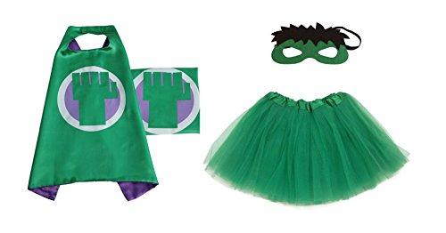 Rush Dance Kids Children's Deluxe Comics Super Hero CAPE & MASK & TUTU Costume (Hulk (Green Tutu))