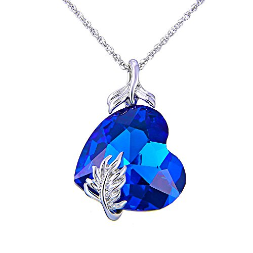 Blue Heart Pendant Necklace Platinum Plated Gifts For Women, Jewelry with a Luxury Gift Bag for Easy Gift Giving Womans Necklace Birthdays Gifts For Women Gifts For Girls