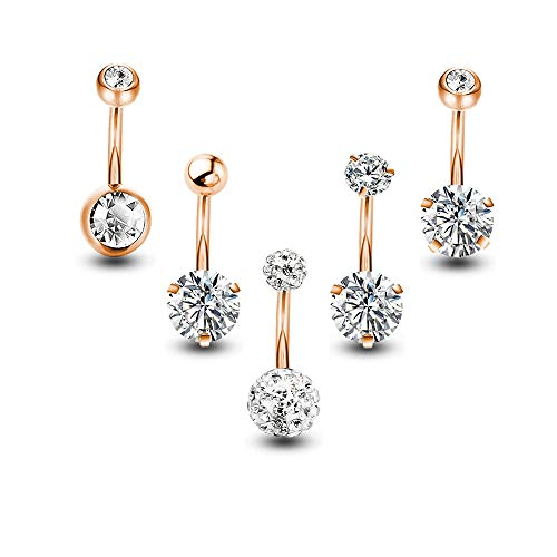 Gnoliew Belly Button Rings Round Cubic Zirconia Navel Barbell Stud Body Piercing(5PCS,Rose-Golden)