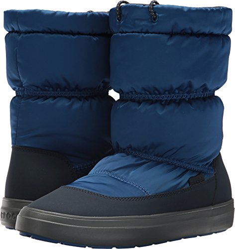 Crocs Women's LodgePoint Shiny Pull-On W Snow Boot, Blue Jean/Navy, 6 M US (Croc Blue Boots)