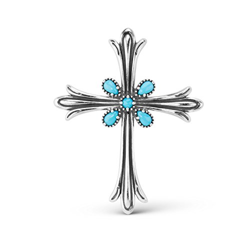 American West Sterling Silver Sleeping Beauty Turquoise Gemstone Squash Blossom Cross Enhancer (Gemstone Sterling Enhancer)