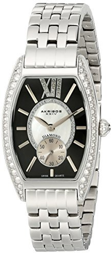 Akribos XXIV Women's AKR470BK Diamond Swiss Quartz Tourneau Bracelet Strap Watch by Akribos XXIV -  68073