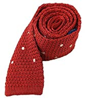 "100% Silk Knit Apple Red Polkas 2"" Skinny Tie"