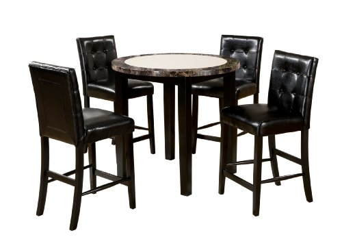 Furniture of America Taveren 5-Piece Faux Marble Round Counter Height Table Set, Black Finish