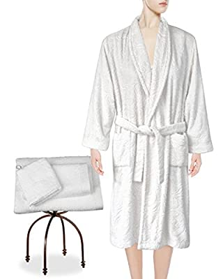 Armani International Tubéreuse Amour Lounge Bath Robe Slippers Guest Towel, Hand Towel Wash Mitt Set, Crafted In Europe