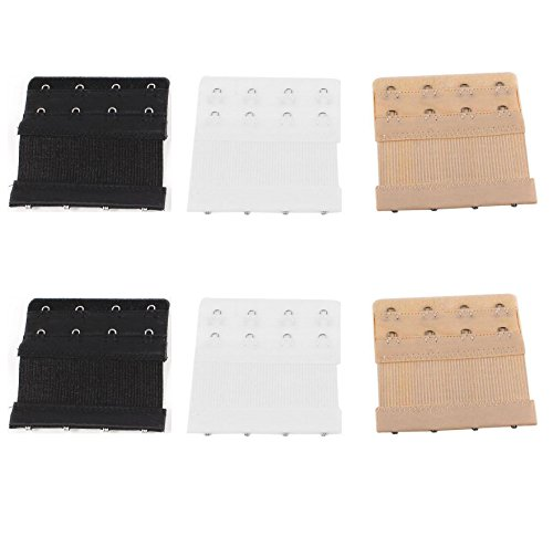 Khaki Bra Straps (6pcs Women Ladies Soft Comfortable Back Bra 2 Rows by 4 Hooks Band Extension Strap Extender, White / Black / Khaki)