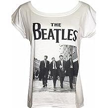 Darceil Women's White Short Sleeve Beatles Print T Shirt Tank Top