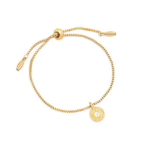 Cyberny Delicate Single Pearl Flower Link Chain Charms Bracelet for Women Girls ()