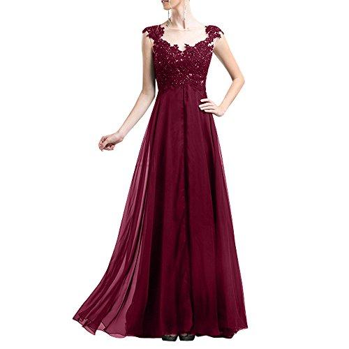Lang Rock Damen Brautmutterkleider Chiffon Burgundy Abendkleider Promkleider Charmant Linie Spitze A YfwqR