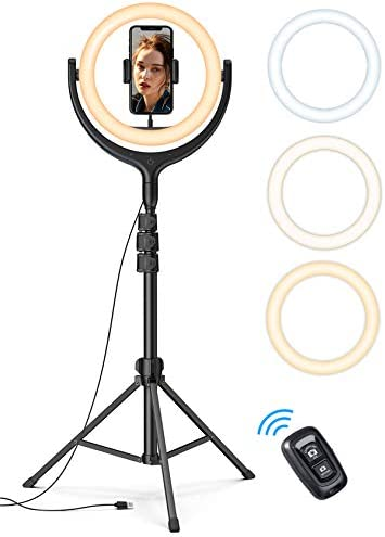 10'' Selfie Ring Light 67'' Tripod Stand - Lamicall LED Circle Halo Light with Cell Phone Holder for Live Stream/Makeup/YouTube Video Recording/Photography, ARO De Luz Compatible with 4-6.5'' Phones