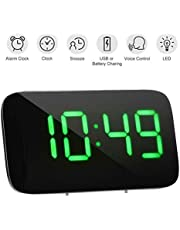 Digital Alarm Clock, LED Large Screen Time Clock Bedside Desk Alarm Clock with Snooze Function and Voice Control, Powered by USB - Green