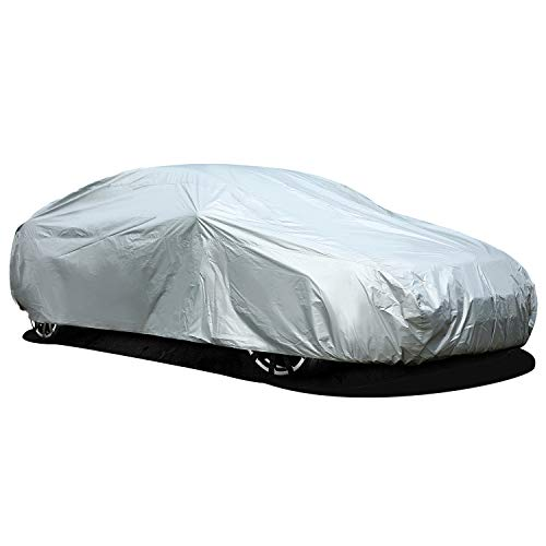Ohuhu Upgraded Waterproof Outdoor Car Covers, Sedan Auto Vehicle Cover Windproof Dustproof Scratch Resistant Outdoor UV Protection Universal Full Size Car Covers for Sedan L (191''-201'') (Dodge Car Cover Avenger)