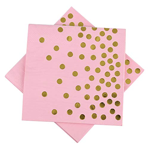 Pink Foils - Pink Paper Napkins 6.5'' 50counts 3-Ply Pink and Gold Foil Dots Disposable Luncheon Napkins for Wedding Birthday Baby Shower Graduation Celebrations Weekend Party