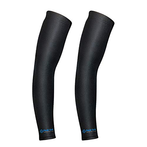 Peak Grit Arm Compression Sleeves for Men and Women Pack of 2 | Black or Blue Sports Brace for Forearm Elbow and Bicep | Basketball Volleyball Baseball and Running Friendly