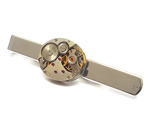 Watch Movement Tie Bar with Rubies Oval Shaped