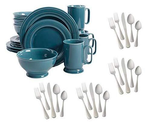 Better Homes & Gardens 16-Piece Admiraware Dinnerware Set, Blue bundle with Mainstays Whitney 20-Piece Stainless Steel Flatware Set (Better Stainless Steel Forks Home)